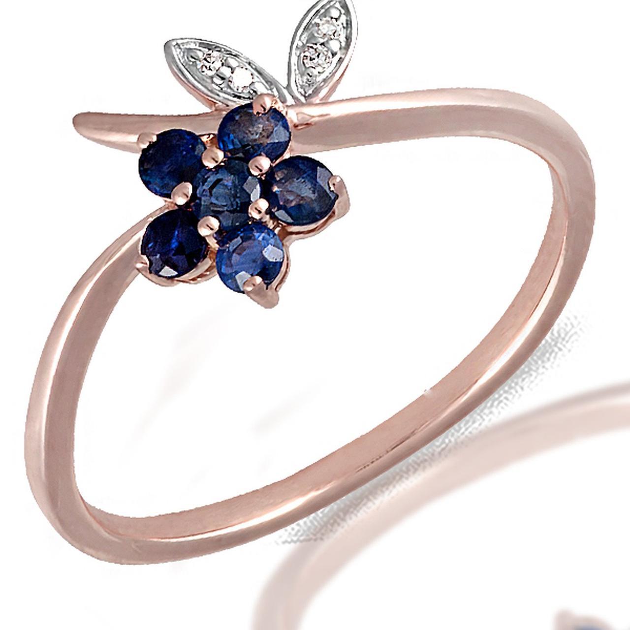 Золотое кольцо с бриллиантами и сапфирами, размер 16 (056623)