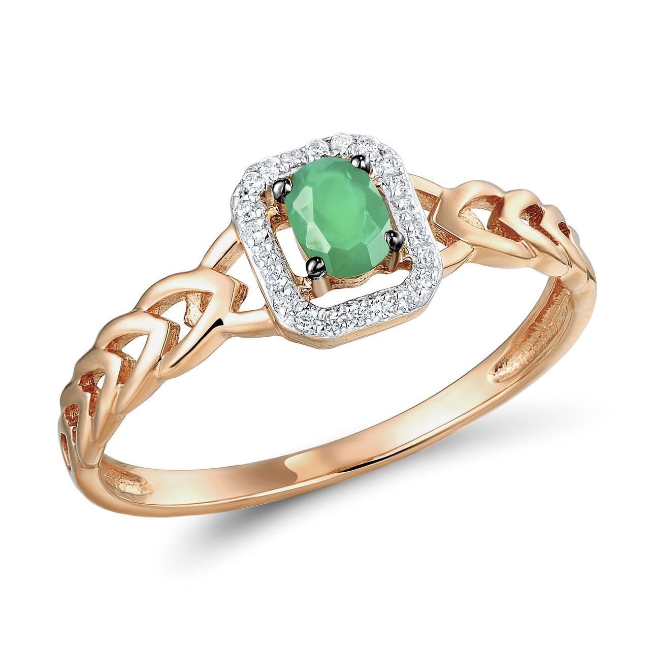 Золотое кольцо с бриллиантами и изумрудом, размер 15.5 (565104)