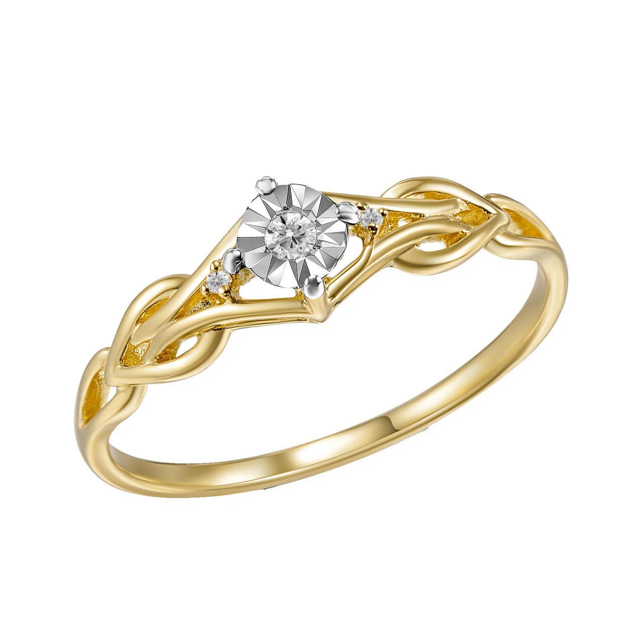 Золотое кольцо с бриллиантами, размер 17 (1669238)