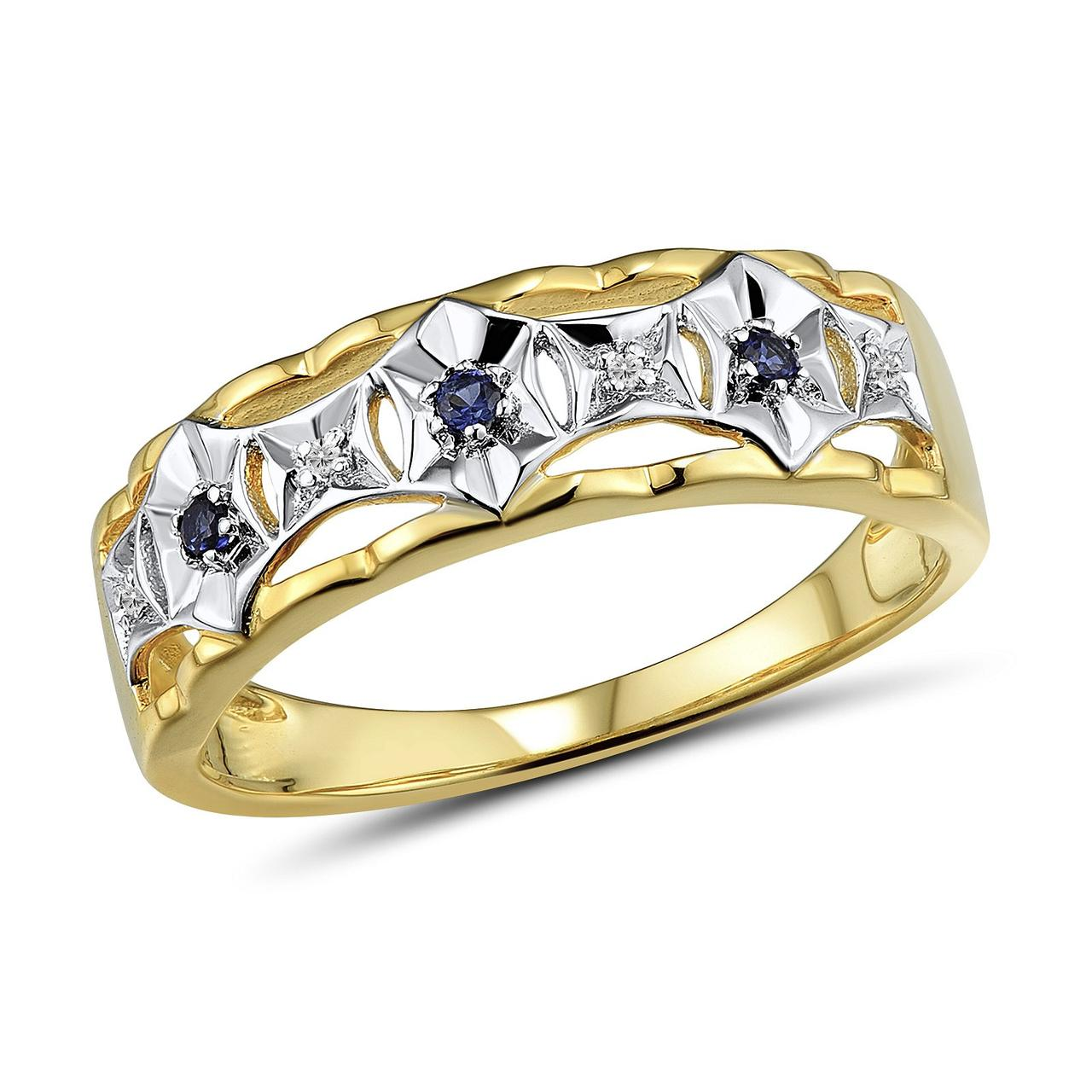 Золотое кольцо с бриллиантами и сапфирами, размер 16 (1645325)