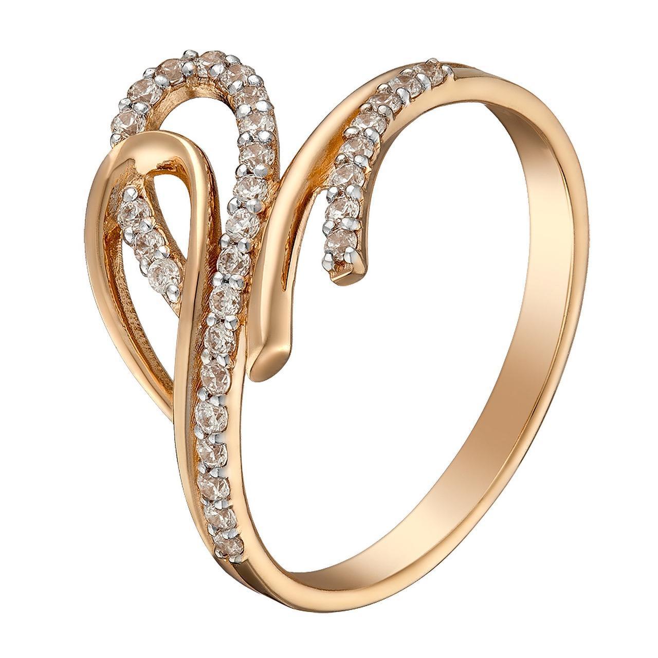 Золотое кольцо с куб. циркониями, размер 18 (1616143)