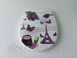 """Сиденье для унитаза пластмассовое с рисунком (крышка) """"Элиф"""" № 372 45 * 36,5 cm. Крышки для унитазов."""