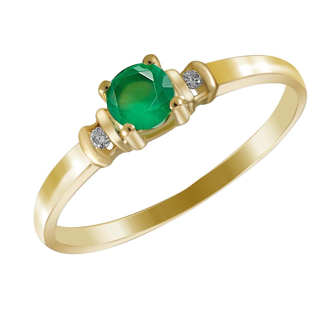 Золотое кольцо с бриллиантами и изумрудом, размер 16.5 (274901)