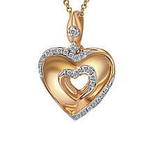 Кулон из красного золота с бриллиантами (814650)