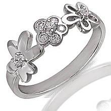 Серебряное кольцо с куб. циркониями, размер 16.5 (059580)