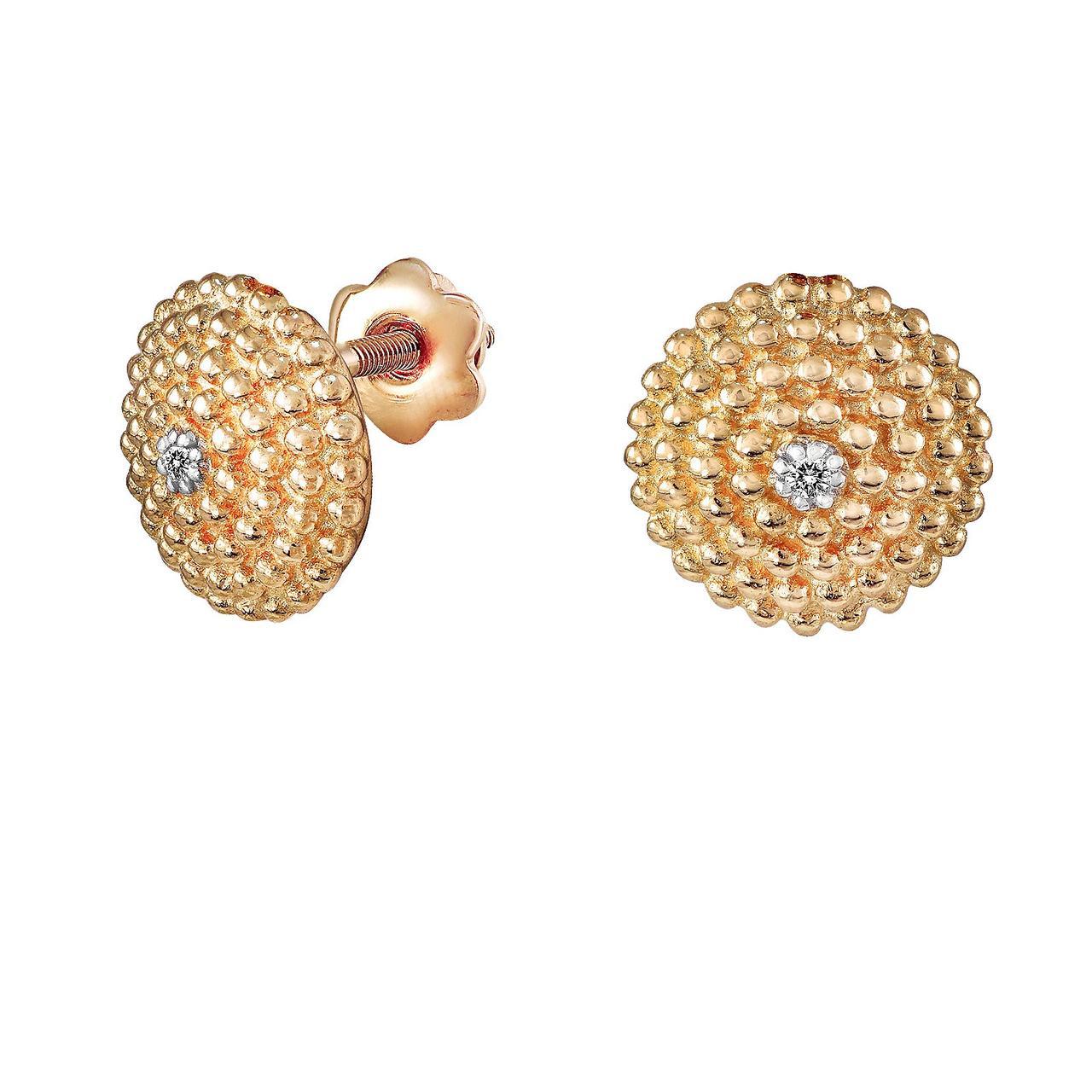 Серьги из красного золота с бриллиантами (324482)