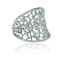 Серебряное кольцо с куб. циркониями, размер 17 (073320)