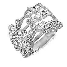 Серебряное кольцо с куб. циркониями, размер 16.5 (073295)