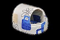 Домик-лежак для домашних животных Мур-Мяу Комфорт Бежевый с синим  КОД: hub_XFfs55066