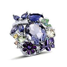 Серебряное кольцо с эмалью и хрусталем, размер 16.5 (1716077)