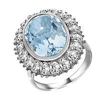 Серебряное кольцо с топазом и куб. циркониями, размер 17.5 (1709001)