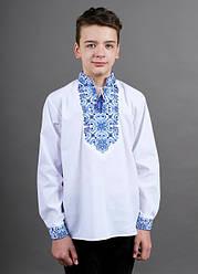 Подростковая вышиванка Полковник  ,ткань сорочечная, рост 158,164 белая,вишиванка
