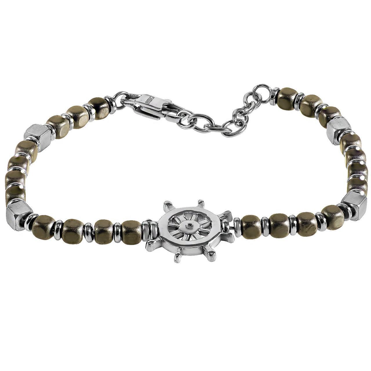 Мужской браслет из стали с бриллиантом, размер 21 (1681781)