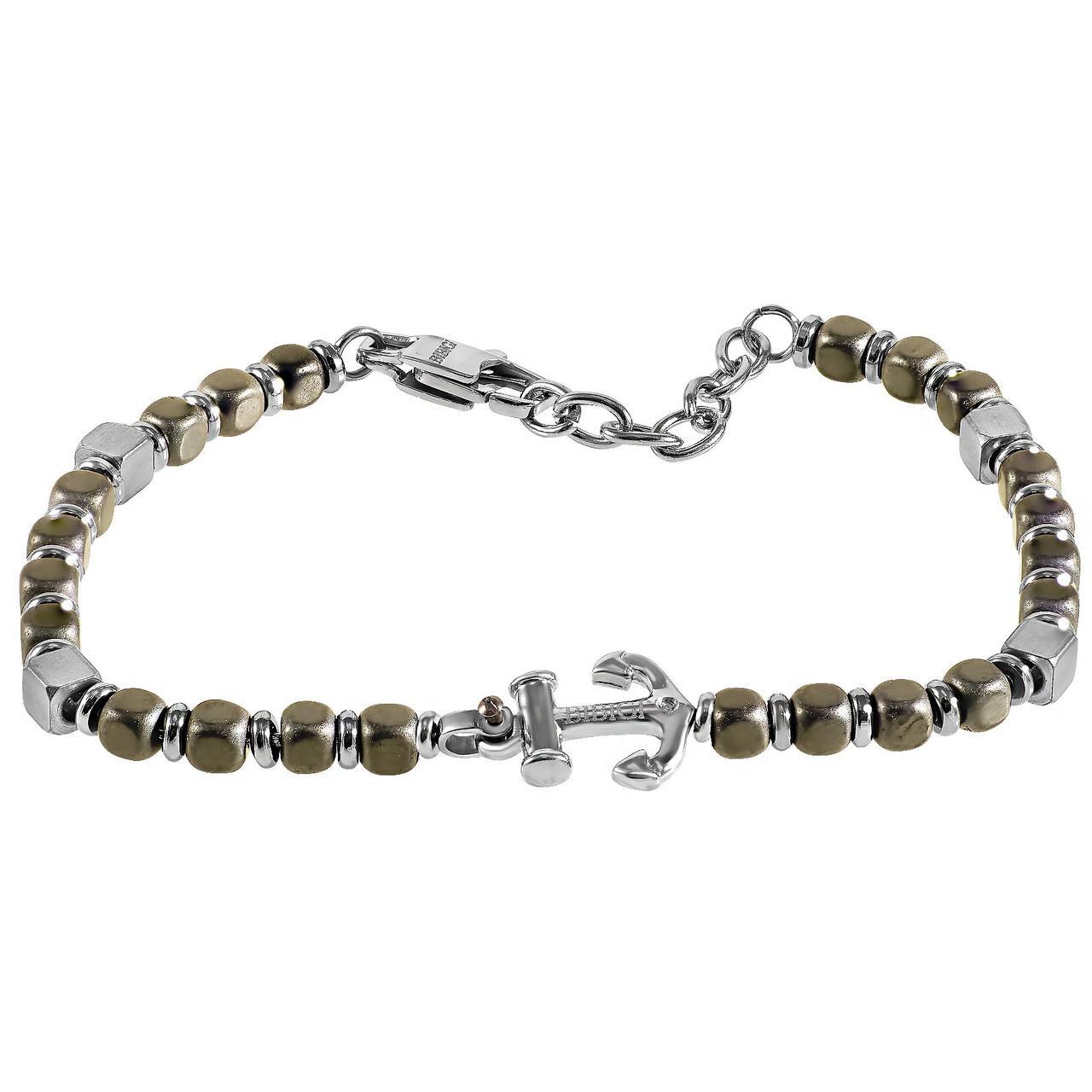 Мужской браслет из стали с бриллиантом, размер 22 (1681780)