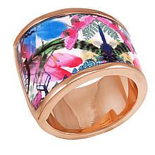 Женское кольцо с эмалью, размер 17 (799081)