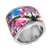 Женское кольцо с эмалью, размер 17.5 (799078)