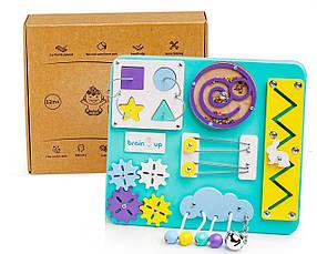Бизиборд BrainUp Smart Busy Board настільна розвиваюча гра дошка з 10 деталей Міпі28х25см КОД: 6001_3