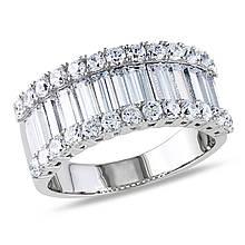 Серебряное кольцо с куб. циркониями, размер 16.5 (069903)