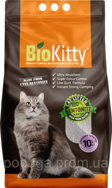 Наповнювач туалетів для кішок BioKitty Super Premium White ЛАВАНДА, 8.4 кг (10 л)