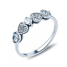 Серебряное кольцо с топазами и куб. циркониями, размер 15.5 (887792)