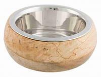 Trixie STAINLESS STEEL BOWL миска металлическая в деревянной рамке для кошек, 0,45л