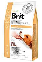 Brit Veterinary Diet HEPATIC беззерновой корм для собак с заболеваниями печени ЯЙЦА и ГОРОХ, 2 кг
