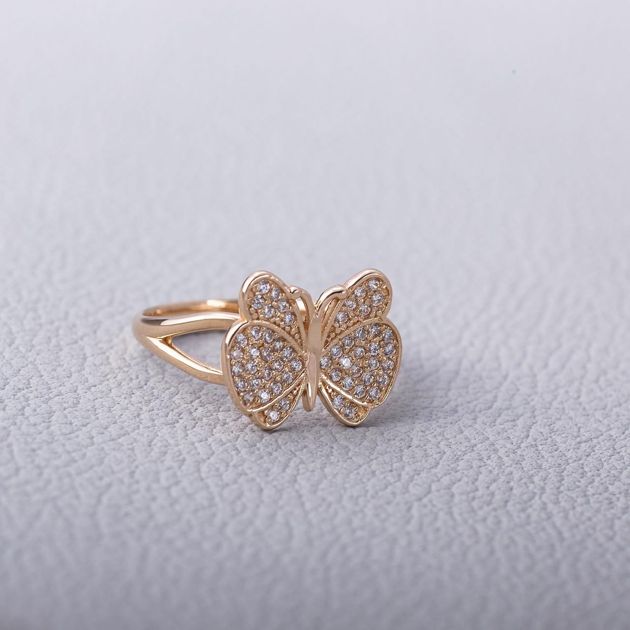 Золотое кольцо бабочка с фианитами ГК21314
