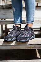 Кроссы унисекс для бега Adidas Yeezy 500 Black. Адидас ИЗИ 350 мужские и женские беговые кроссовки черные