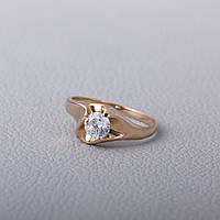 Кольцо с фианитом помолвочное золотое КПр136