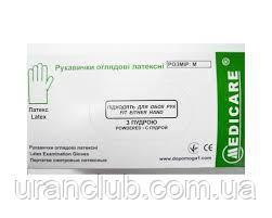 Перчатки медицинские латексные опудренные MEDICARE,размер М,уп.100 шт.