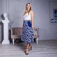 Летняя юбка годе с принтом синяя