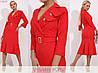 Офисное женское платье красное с отложным воротником (3 цвета) SD/-4686