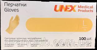 Перчатки медицинские латексные опудренные UNEX размер M,уп.100 шт.