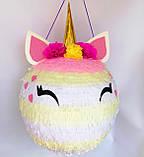 Пиньята единорог розовый пината бумажная для праздника Единорог Единорожек большой обхват 120 - 130 см, фото 8