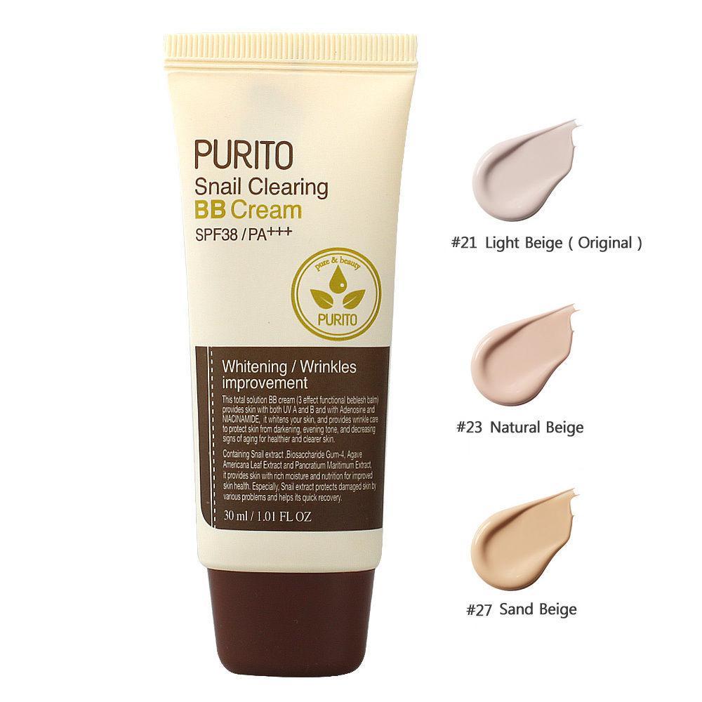 Улиточный вв-крем Purito Snail Clearing BB Cream SPF38 тон 21 и 23 й тон ББ -крем 30 мл
