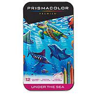 Цветные карандаши Prismacolor Premier - Under the Sea 12 цветов в металлическом пенале