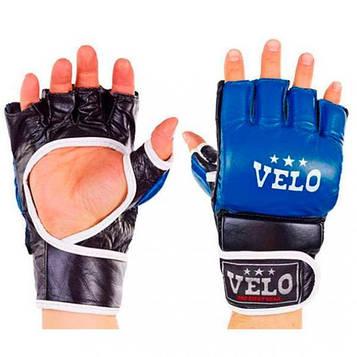 Перчатки кожаные для различных видов рукопашного боя в числе которых самбо, ММА и другие. Цвет синий.