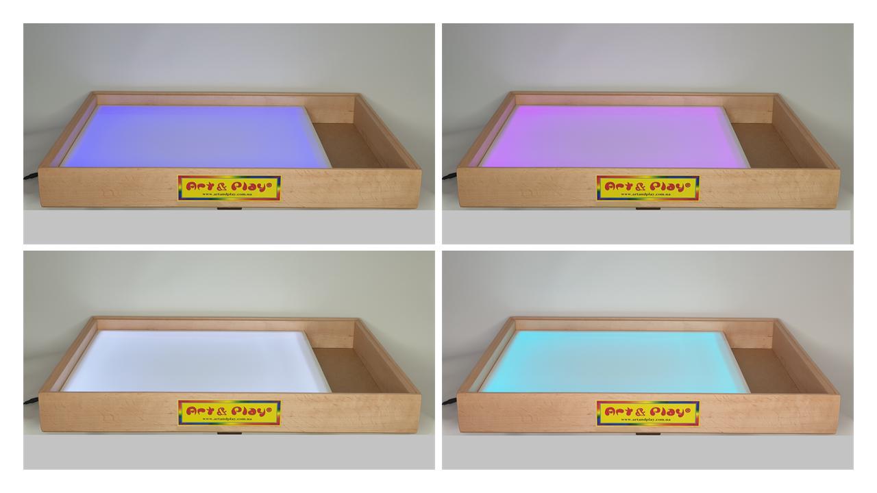Світлова пісочниця 70х50см Art&Play® вільха кольорове світло з відсіком для іграшок