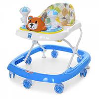 Ходунки прыгунки каталка Bambi Мишка  Первые шаги  для мальчика от 6 месяцев цвет синий  3619 музыка свет