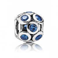 Подвеска-шарм голубые ажурные круги из серебра 925 пробы пандора (pandora)