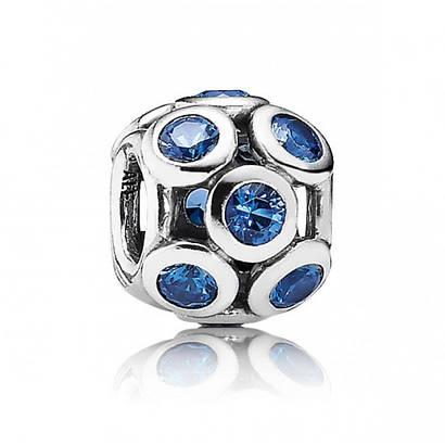 Подвеска-шарм «Голубые ажурные круги» в стиле Pandora