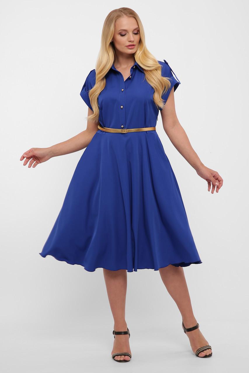 Платье цвет электрик насыщенно синее с юбкой солнце-клеш и рубашечном воротником размер 48-56