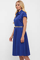 Платье цвет электрик насыщенно синее с юбкой солнце-клеш и рубашечном воротником размер 48-56, фото 3