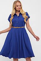 Платье цвет электрик насыщенно синее с юбкой солнце-клеш и рубашечном воротником размер 48-56, фото 2