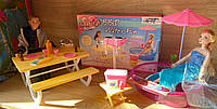 Кукольная мебель Gloria Глория 1679 Барбекю, пикник и водные развлечения у бассейна