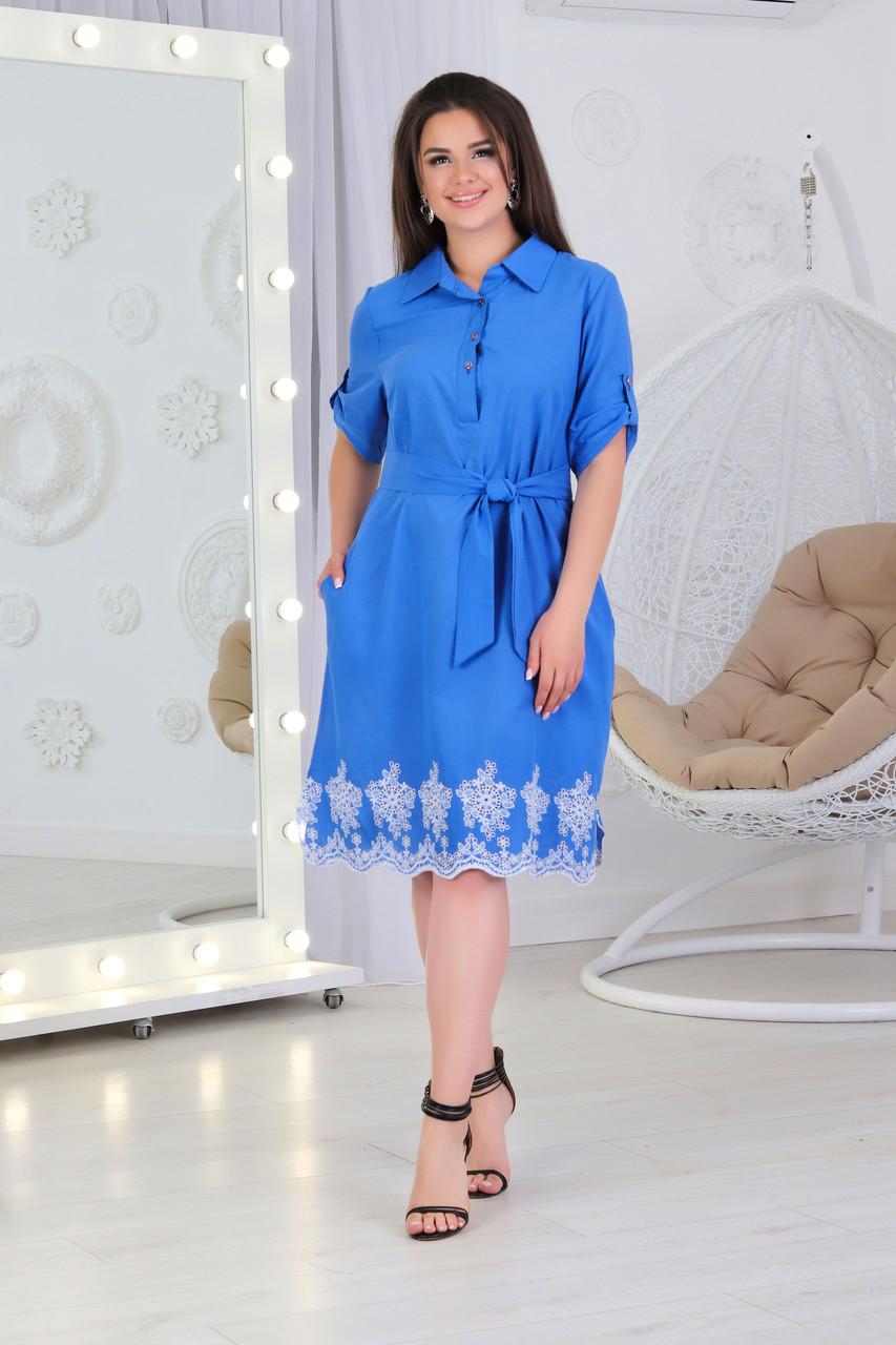 Стильное платье - рубашка арт. А487 с вышивкой  ярко голубое с прошвой