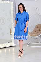 Стильное платье - рубашка арт. А487 с вышивкой  ярко голубое с прошвой, фото 1