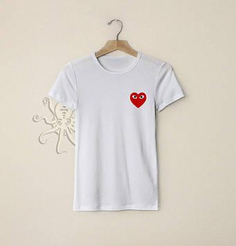 Летняя белая футболка с сердцем / Футболки с надписями и лого на заказ