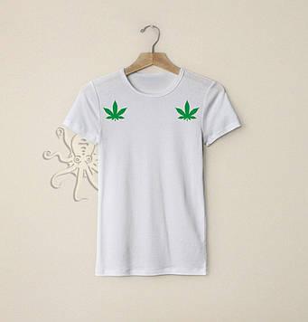 Летняя футболка белого цвета конопля / Футболки с надписями и лого на заказ