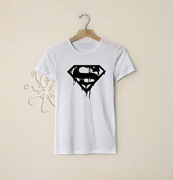 Белая футболка Супермен (S) / Футболки с надписями и лого на заказ